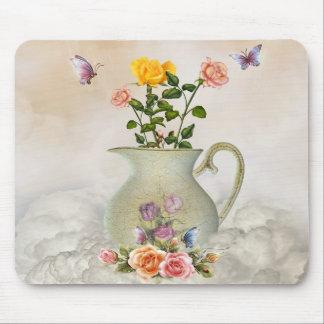 Mariposas y cojín de ratón de los rosas alfombrilla de ratones