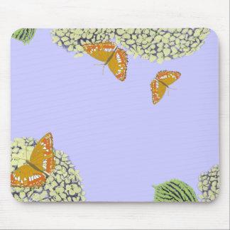 Mariposas y cojín de ratón del Hydrangea Alfombrilla De Ratón