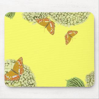 Mariposas y cojín de ratón del Hydrangea Tapete De Ratón