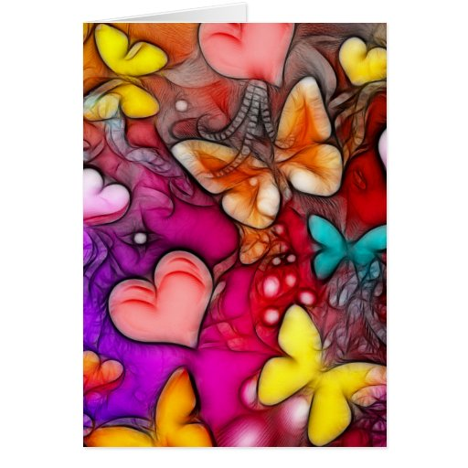 Mariposas y corazones tarjeta de felicitación