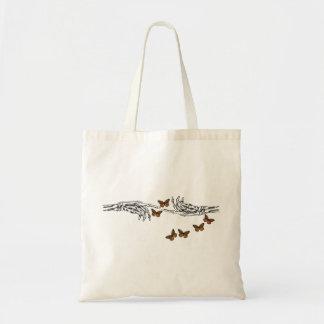 Mariposas y esqueletos bolsa lienzo