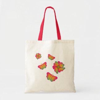 Mariposas y flores bolsa tela barata