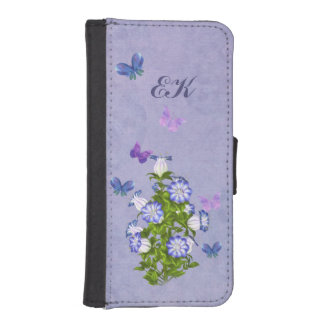 Mariposas y flores de Bell, monograma Funda Tipo Cartera Para iPhone 5