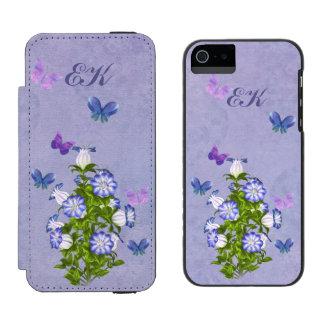 Mariposas y flores de Bell, monograma Funda Cartera Para iPhone 5 Watson