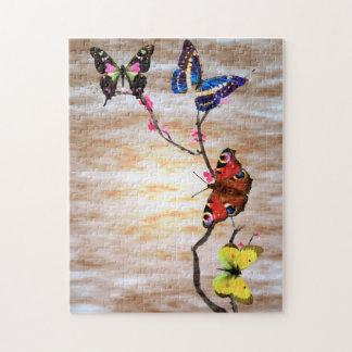 Mariposas y flores de cerezo puzzles con fotos