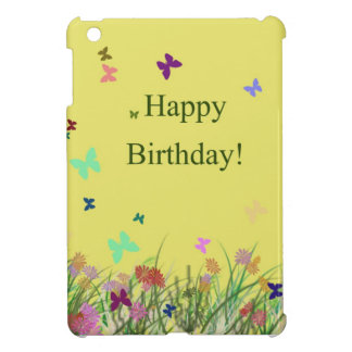 Mariposas y flores del feliz cumpleaños iPad mini cobertura
