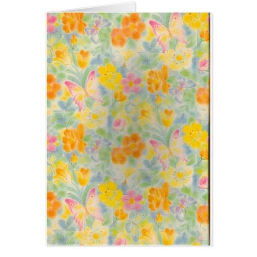 Mariposas y flores en colores pastel tarjeta de felicitación