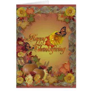 Mariposas y flores felices de la acción de gracias tarjeta