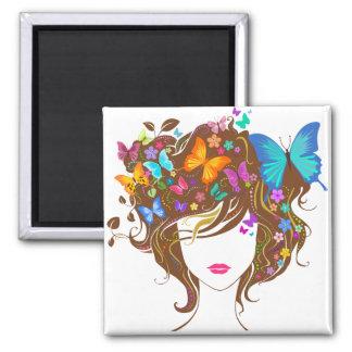 Mariposas y flores imán de frigorifico