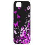 Mariposas y flores púrpuras iPhone 5 Case-Mate cárcasas