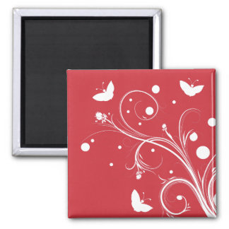 Mariposas y flores rojas y blancas imán para frigorífico
