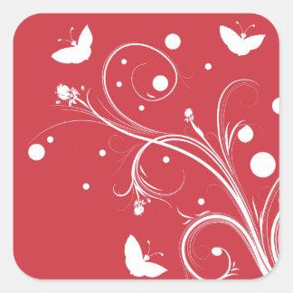 Mariposas y flores rojas y blancas calcomanías cuadradas personalizadas