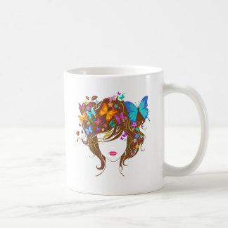 Mariposas y flores taza