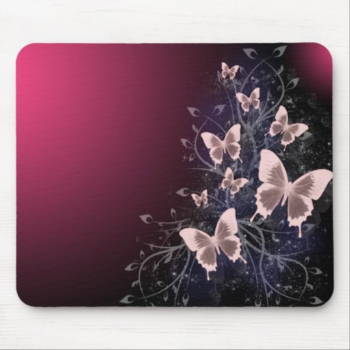 Mariposas y hojas mouse pads