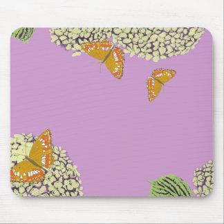 Mariposas y lavanda del cojín de ratón del Hydrang Alfombrilla De Ratón