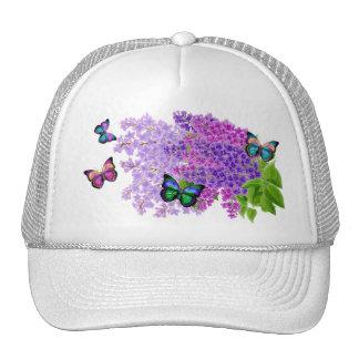 Mariposas y lilas gorros bordados