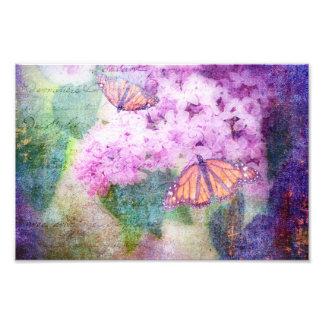 Mariposas y lilas texturizadas arte con fotos