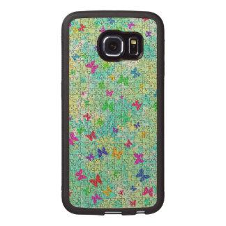 Mariposas y Margarita-Colorido desconcertada Funda De Madera Para Samsung Galaxy S6 Edge
