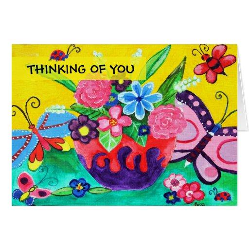Mariposas y mariquitas que piensan en usted tarjeta de felicitación