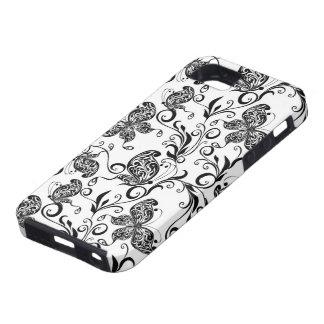 Mariposas y modelo blancos y negros de los iPhone 5 Case-Mate funda