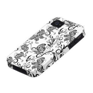 Mariposas y modelo blancos y negros de los vibe iPhone 4 carcasa