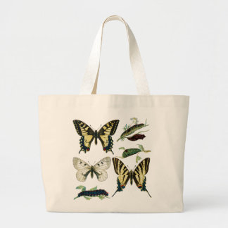 Mariposas y orugas coloridas bolsa tela grande