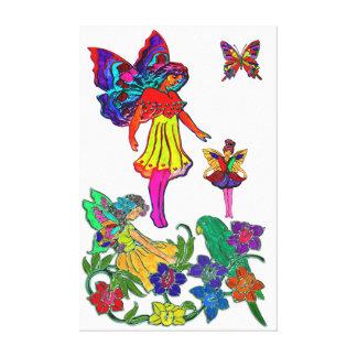 Mariposas y pájaro florales del chica de la maripo impresiones en lona