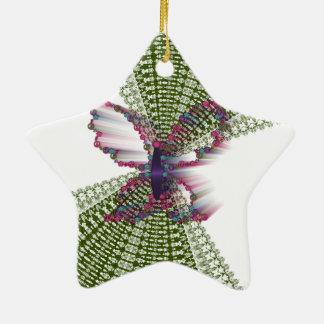 Mariposas y paz adorno navideño de cerámica en forma de estrella