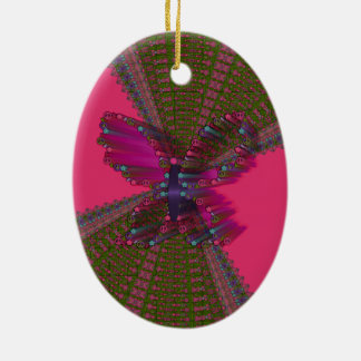 Mariposas y paz adorno navideño ovalado de cerámica