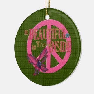 Mariposas y paz adorno navideño redondo de cerámica