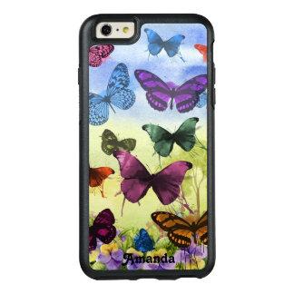 Mariposas y pensamientos bonitos de la acuarela funda otterbox para iPhone 6/6s plus