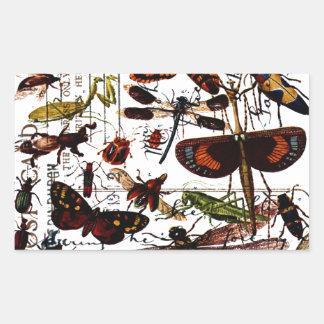 Mariposas y polillas pegatina rectangular