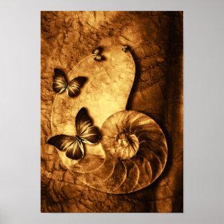 Mariposas y poster del fósil de Shell Póster
