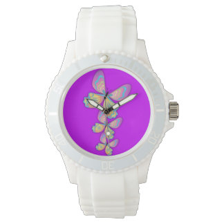 Mariposas y reloj púrpura del amor