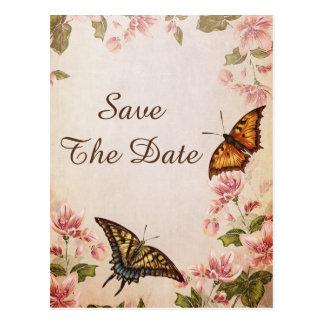 Mariposas y reserva del flor de la almendra del postal