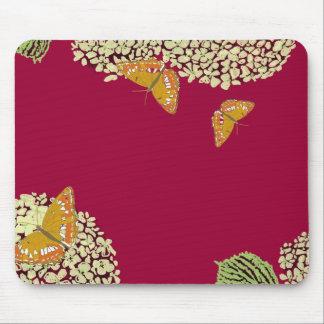 Mariposas y rojo del cojín de ratón del Hydrangea Tapete De Ratones