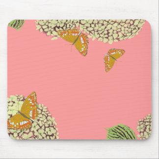 Mariposas y rosa del cojín de ratón del Hydrangea Tapetes De Raton