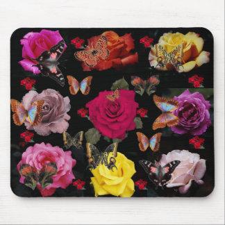 ¡Mariposas y rosas! Cojín de ratón Tapete De Ratón