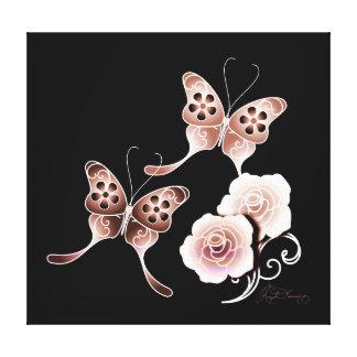 Mariposas y rosas de cobre elegantes impresión de lienzo