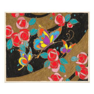 Mariposas y rosas de Deco en negro y oro Fotografías