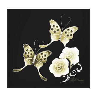 Mariposas y rosas elegantes del oro impresion de lienzo