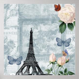 Mariposas y rosas franceses del vintage póster