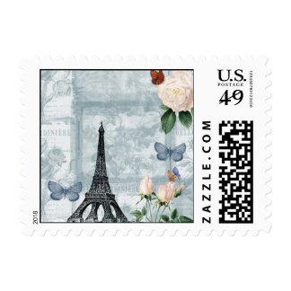 Mariposas y rosas franceses del vintage franqueo