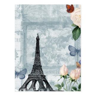 Mariposas y rosas franceses del vintage postal
