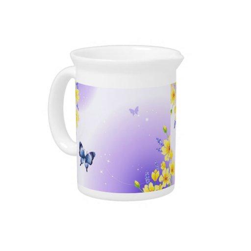 Mariposas y sol jarras para bebida