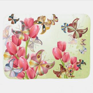 Mariposas y tulipanes rosados - manta del bebé mantas de bebé
