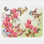 Mariposas y tulipanes rosados - manta del bebé mantita para bebé