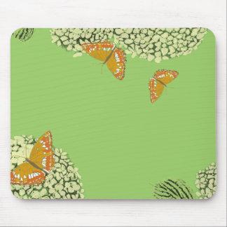 Mariposas y verde del cojín de ratón del Hydrangea Tapetes De Ratones