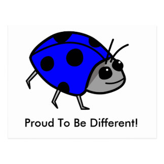 Mariquita azul orgullosa ser diferente tarjetas postales