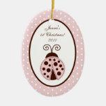 Mariquita de encargo personalizada del rosa del ornamentos para reyes magos